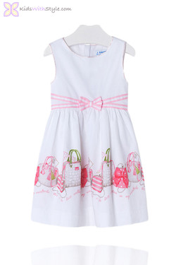 Girls Chic Nautical Dress with Pink Trim