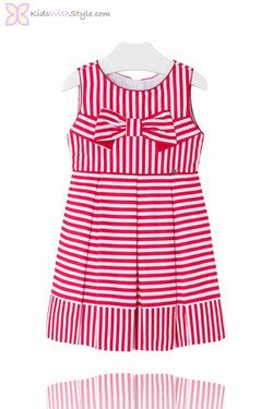 Girls Chic Candy Stripe Dress in Red
