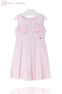 Girls Chic Candy Stripe Dress in Pink