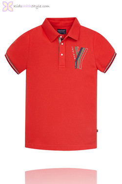 Boys Graphic Global Master Polo in Red