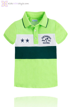 "Boys ""Malibu "" Color Block Polo in Green"