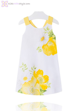 Girls Floral Poppy Sun Dress in Yellow
