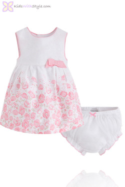 Baby Girl Pink Floral Dress and Bloomer Set