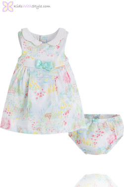 Baby Girl Watercolor Dress and Bloomer Set