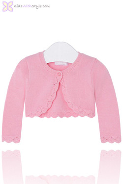 Baby Girl Cropped Cardigan in Pink