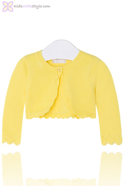 Baby Girl Cropped Cardigan in Yellow