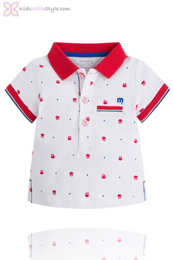 Baby Boy Dapper White & Red Polo with Crab Print