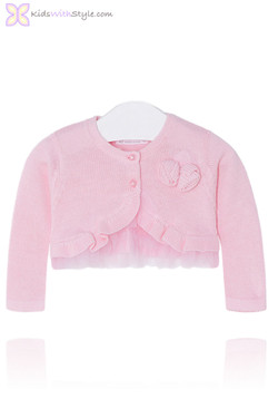 Pink Baby Girl Ruffled Cardigan with Tulle Trim