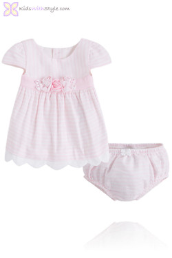 Baby Girl Chic Pink Dress & Bloomer Set