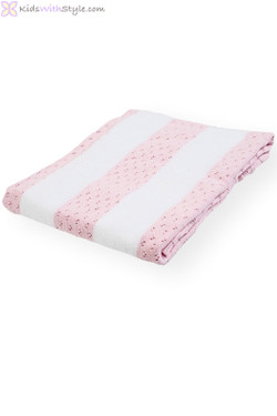 Baby Girl White and Pink Striped Blanket/Shawl
