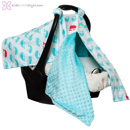 Preppy Whale Print 4 in 1 Baby Car Seat Canopy | Shop Baby Car Seat ...