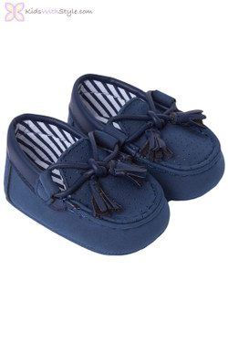 Baby Boy Leatherette Moccasins in Navy