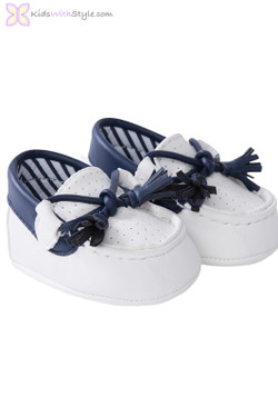 Baby Boy Leatherette Moccasins in White