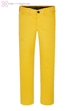 Boys Basic Chino Long Trousers in Yellow