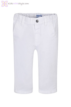 Baby Boy Twill Pants in White