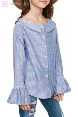 Blue Striped Boat Neck Button Up Blouse