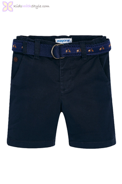 Baby Boy Shorts in Navy with Belt