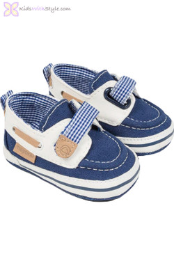 Baby Boy Navy & Tan Boat Shoes