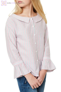Pink Striped Boat Neck Button Up Blouse
