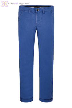 Boys Basic Chino Long Trousers in Blue