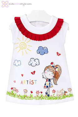 Baby Girl Artist Print Summer Dress in Red