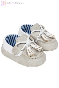Baby Boy Leatherette Moccasins in Beige
