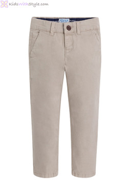 Boys Twill Chino Long Trousers in Jute