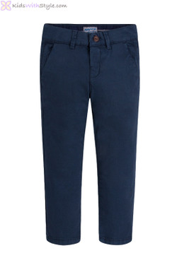Boys Twill Chino Long Trousers in Navy
