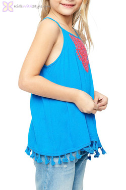 Azur Embroidered Tassel Top