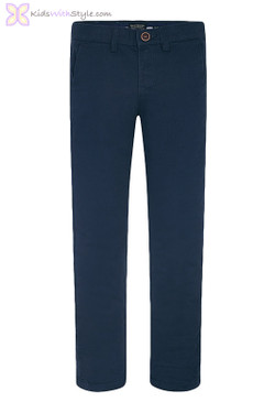 Boys Basic Chino Long Trousers in Navy