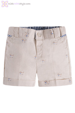 Baby Boy Linen Shorts with Puppies in Beige
