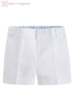 Baby Boy Linen Shorts in White