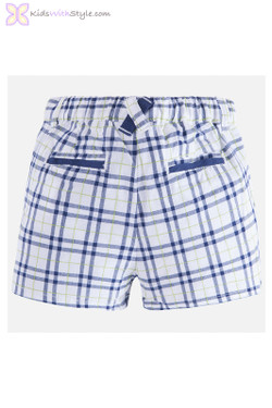 Baby Boy Plaid Shorts in Navy