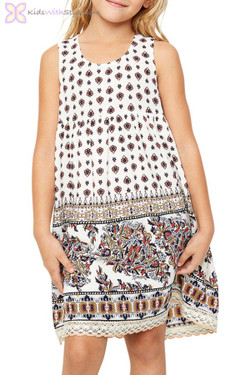 Ivory Sleeveless Printed Tunic Dress
