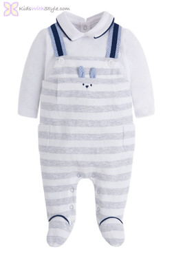 Baby Boy One Luxury Piece Onesie Overalls in Gray
