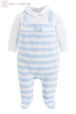 Baby Boy One Luxury Piece Onesie Overalls in Soft Blue