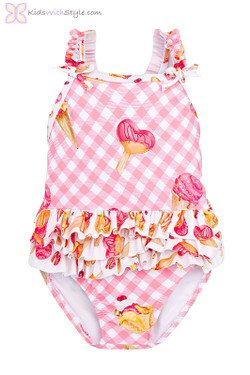 Baby Girl Ice Cream Swimsuit in Pink
