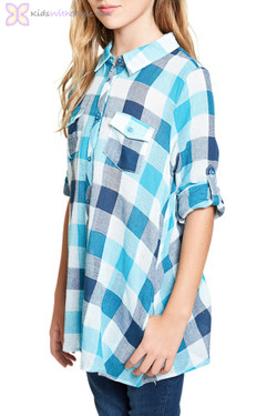 Blue Plaid Button Down Tunic
