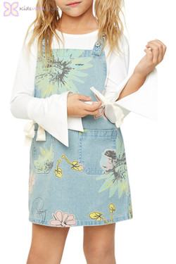 Floral Denim Pinafore Dress