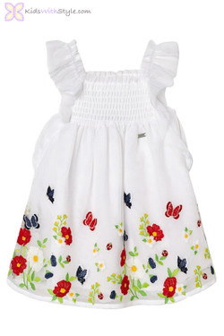 Baby Girl Butterfly Tulle Dress in White