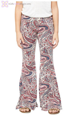 Printed Strawberry Bell Bottom Pants