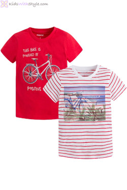 Boys Set of 2 Beachside T-Shirts in Red