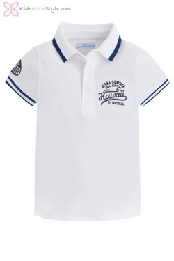 "Boys ""Aloha"" Long Beach Polo in White"