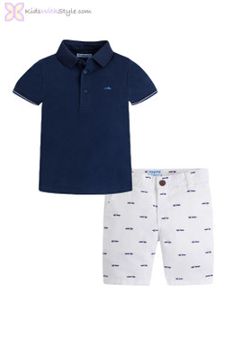 Boys Polo And Short Set in Navy & White