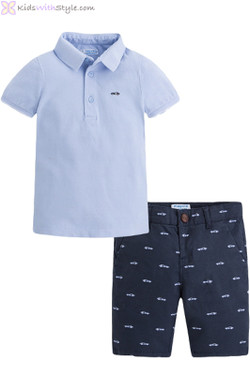 Boys Polo and Short Set in Dusty Blue & Navy