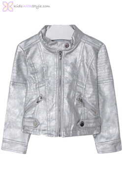 Girls Leatherette Styled Jacket in Silver