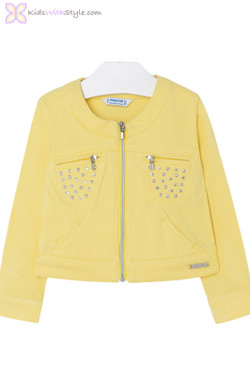 Girls Twill Style Jacket in Yellow