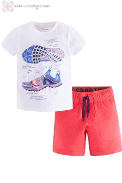 Boys Bermuda & Sports Printed Top Set in Red