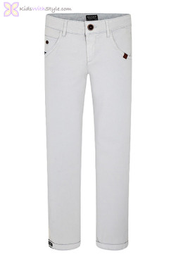 Boys Light Grey Slim-Fit Pants