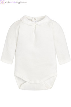 Baby Girl Onesie with Peter Pan Collar in White